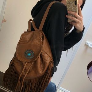 Bags - Brown leather / turquoise stone back pack